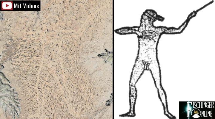 """Wer schuf den 4,2 Kilometer großen """"Marree Man"""" im Outback von Australien? (Bilder: Google Earth / gemeinfrei)"""