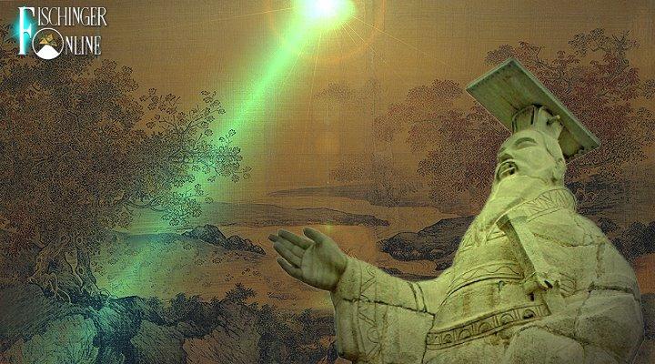 """Der chinesische """"Adam"""" und das """"überirdische Wesen"""" von den Sternen (Bilder: gemeinfrei / Montage: Fischinger-Online)"""