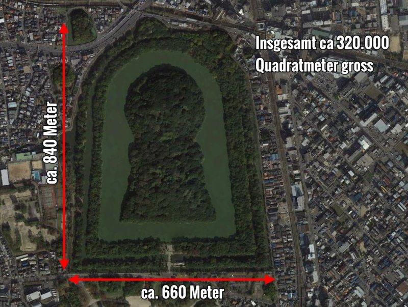 Das Riesengrab von Kaiser Nintoku (Bild: Google Earth)