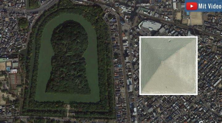 Bedroht durch Grundwasser: Das Riesengrab von Kaiser Nintoku in Japans soll untersucht werden (recht zum Vergleich die Cheops-Pyramide) (Bilder: Google Earth)