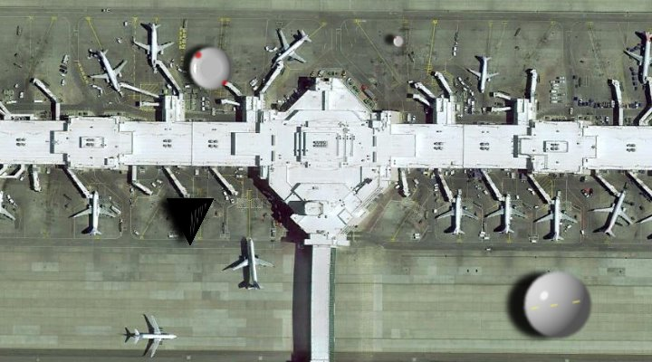 Der internationale Flughafen von Denver: ein Tummelplatz für Aliens UFOs und Geheimgesellschaften? Der Flughafen nimmt die Verschwörungstheorien jetzt mit Humor ... (Bild: Google Earth / Bearbeitung: Fischinger-Online)