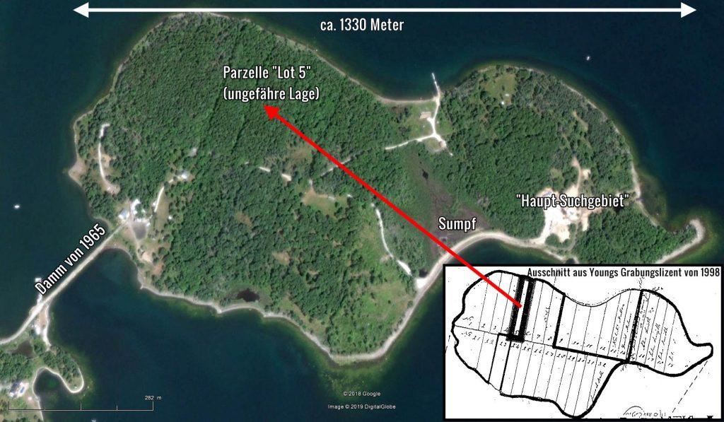 Oak Island - Aktuelle Übersicht mit dem Grundstück Lot 5 von R. S. Young (Bilder: Google Earth Sceenshot & oakislandlotfive.com / Bearbeitung: Fischinger-Online)
