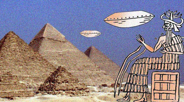 """""""Antike Texte sagen, ein außerirdischer Gott baute die Große Pyramide"""": Schockierendes in der Mainstream-Boulevardpresse! (Bilder: gemeinfrei / Montage: Fischinger-Online)"""