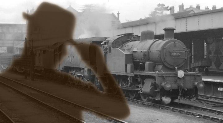 Der Geist, der mit dem Zug kam: 1936 soll ein Geist oder Phantom am Bahnhof Exeter erschienen sein ... (Bilder: gemeinfrei / Montage: Fischinger-Online)