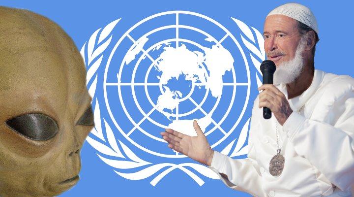 UFO-Sekte Rael-Bewegung und ihr Botschaftsgebäude für die Aliens: Jetzt soll es die UN regeln (Bilder: Fischinger-Online / gemeinfrei / Real.org / Montage: Fischinger-Online)