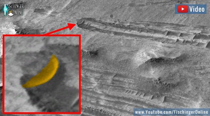 VIDEO: UFO-Crash auf dem Mars? Eine seltsame Anomalie bei Google Mars (Bilder: Google Earth / Fischinger-Online)