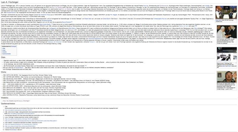 Eintrag zu Lars A. Fischinger auf der anonymen Seite Psiram (auf eine Gesamtansicht verkleinerter Screenshot)