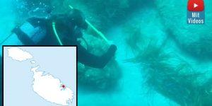 Über 10.000 Jahre alte Ruinen in 30 Metern Tiere vor der Küste Maltas entdeckt? (Bilder: Screenshot YouTube/Th. Morawietz & gemeinfrei)