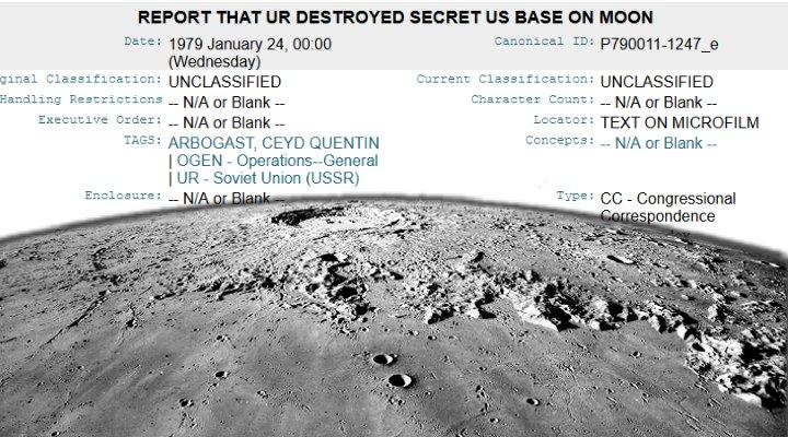 Die UdSSR zerstörte 1979 eine Basis auf dem Mond? Ein seltsames WikiLeaks-Dokument (Bilder: WikiLeaks / NASA)
