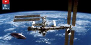 """""""Wahrheitsembargo"""" bei der NASA: Wenn UFOs bei der ISS auftauchen muss die NASA den Live-Stream unterbrechen! (Bilder: gemeinfrei / Montage: Fischinger-Online)"""