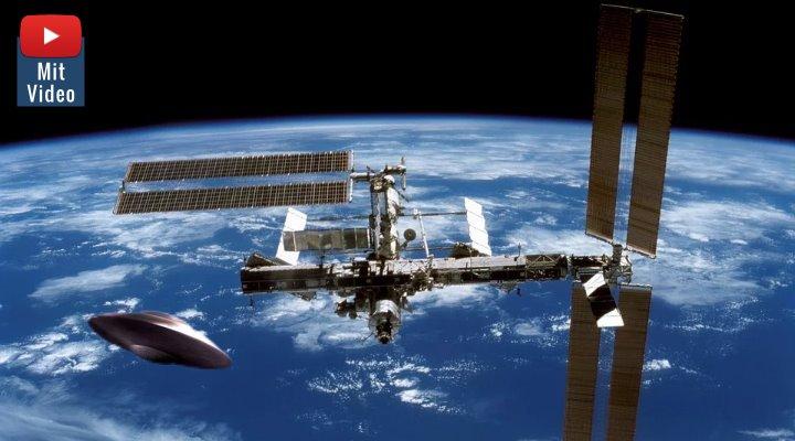 """""""Wahrheitsembargo"""" bei der NASA: Wenn UFOs bei der ISS auftauchen - muss die NASA den Live-Stream unterbrechen! (Bilder: gemeinfrei / Montage: Fischinger-Online)"""