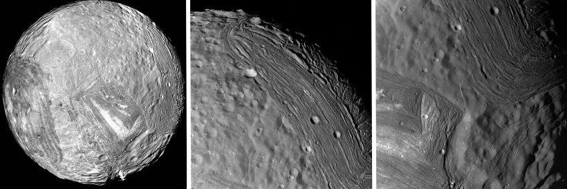 """Der Uranus-Mond Miranda und seine """"Narben"""": Spuren einer Kollision mit Nibiru? (Bilder: NASA/gemeinfrei)"""