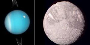 Der Uranus und sein Mond Miranda - zwei Sonderlinge in unserem Sonnensystem [nicht maßstabsgetreu] (Bilder: gemeinfrei)