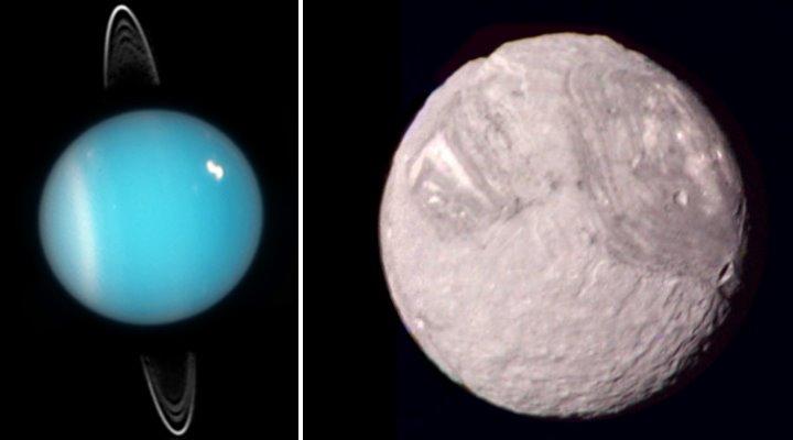 Der Uranus und sein Mond Miranda - zwei Sonderlinge in unserem Sonnensystem, die angeblich eine ganz besondere Geschichte haben [nicht maßstabsgetreu] (Bilder: gemeinfrei)