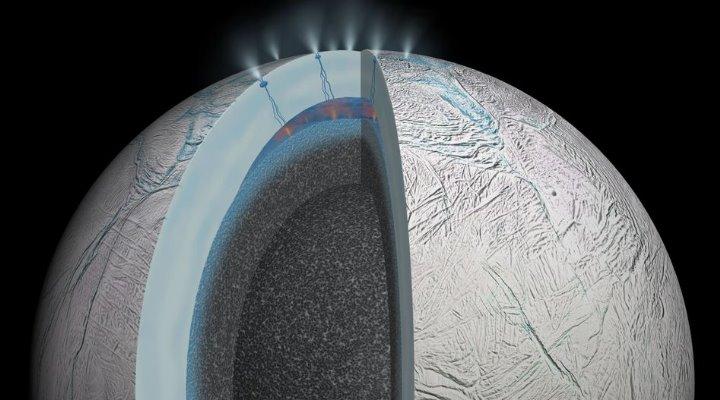 Der Saturn-Mond Enceladus und sein innerer Ozeane: Nichts spricht dagegen, dass es hier Leben gibt! (Bild: NASA)