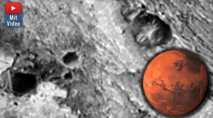 UFO-Fan findet mal wieder außerirdische Bauwerke auf dem Mars (Bilder: NASA / Montage: Fischinger-Online)