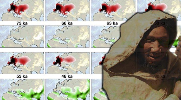 Der rätselhafte Neandertaler: Ein Supercomputer hat jetzt ihr Aussterben simuliert - Hauptschuld an ihrem Verschwinden trägt wohl der Homo sapiens (Bilder: A. Timmermann & PixaBay / Montage: Fischinger-Online)