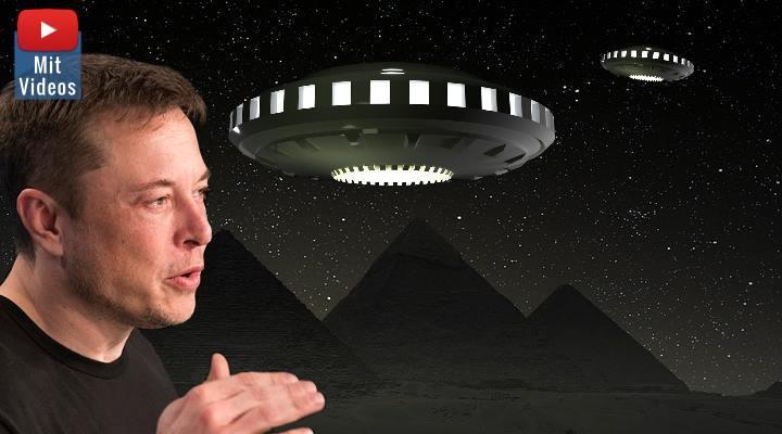 """Elon Musk: """"Aliens bauten die Pyramiden"""" - und die dazu verbreiteten Fake-News (Bilder: gemeinfrei / Montage: Fischinger-Online)"""