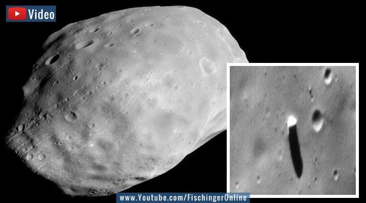 """Das Rätsel des Phobos Monolithen: Seltsamer """"Turm"""" auf einem der Monde des Mars (Bilder: NASA / Montage: Fischinger-Online)"""