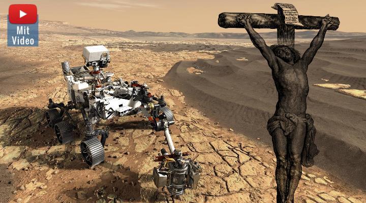 Debatte und Uneinigkeit in der Kirche: Was ist wenn Perseverance auf dem Mars Leben findet - oder wir eines Tages intelligentes Leben im All? (Bilder: NASA & PixaBay / Montage: Fischinger-Online)
