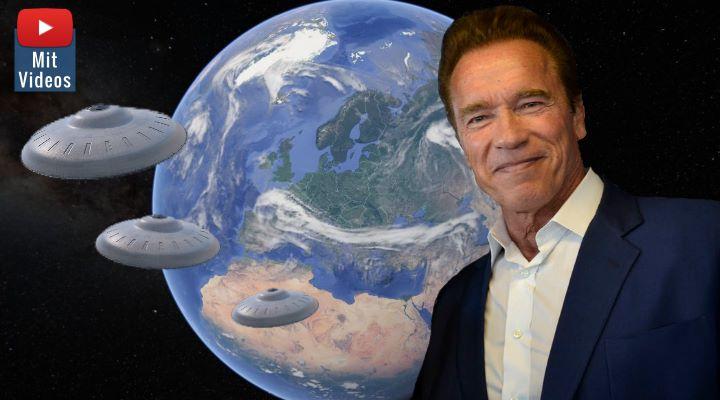 """Britische Umfrage: Arnold Schwarzenegger soll bei einer Alien-Invasion unseren Planeten verteidigen - und er wäre """"bereit"""" (Bilder: gemeinfrei & WikiCommons/gemein frei / Montage: Fischinger-Online)"""