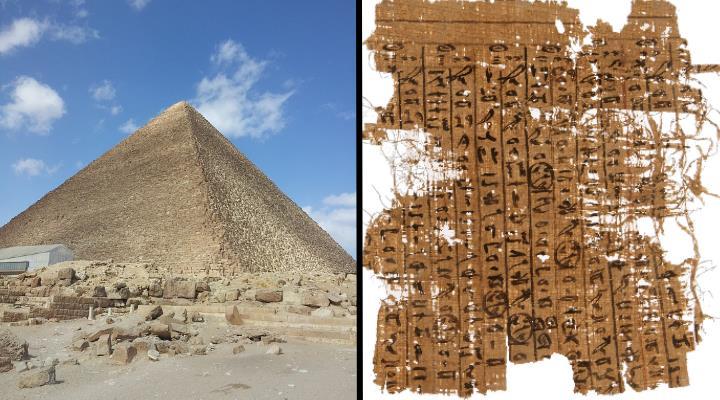 """Das """"Logbuch des Merer"""" auf dem Papyrus Jarf: Wirklich ein Beweis für den Bau der Großen Pyramide unter Pharao Cheops? (Bilder: gemeinfrei & P. Tallet)"""