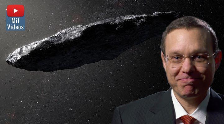 """Harvard-Astronom Prof. Avi Loeb unterstreicht erneut seine Ansichten zu Oumuamua: """"Die Natur produziert solche Dinge nicht! (Bilder: ESO/M. Kornmesser & YouTube Screenshot)"""