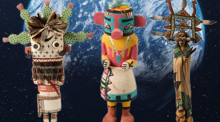 Katsina Figuren der legendären Hopi-Indianer als Online-Ausstellung in Deutschland - doch was hat es mit diesen Wesen auf sich? (Bilder: NASA & Nordamerika Native Museum der Stadt Zürich / Montage: Fischinger-Online)