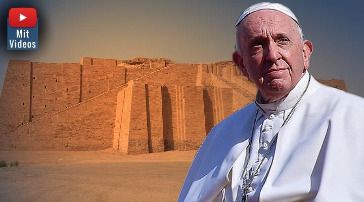 Papst Franziskus in der irakischen Stadt Ur: Dort wo Stammvater Abraham einst Kontakt zu Außerirdischen hatte? (Bilder: gemeinfrei / Tagesschau.de / Montage: Fischinger-Online)
