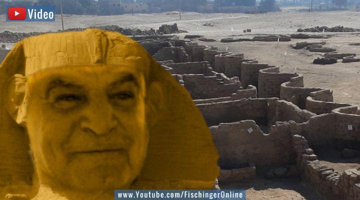 """VIDEO: Die versunkene """"goldene Stadt"""" des Dr. Zahi Hawass: Die verlorene Stadt ist seit über 80 Jahren bekannt (Bilder: WikiCommons/gemeinfrei /Z. Hawass / Montage: Fischinger-Online)"""