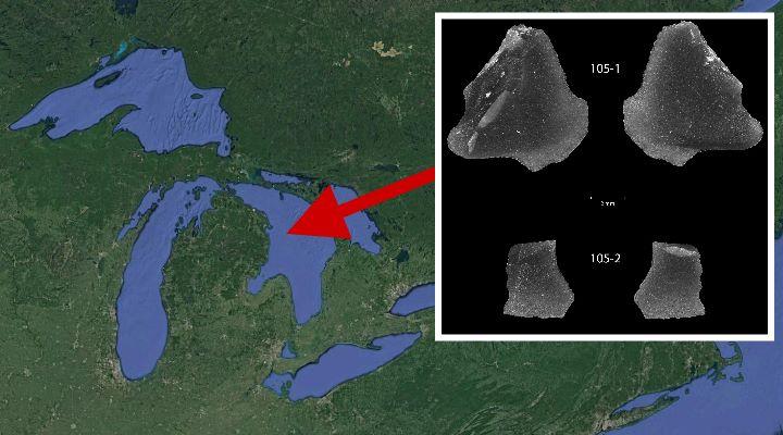 9.000 Jahre alte Steinwerkzeugartefakte in den Großen Seen Nordamerikas entdeckt! (Bilder: Google Earth / J. M. O'Shea/Plos one)