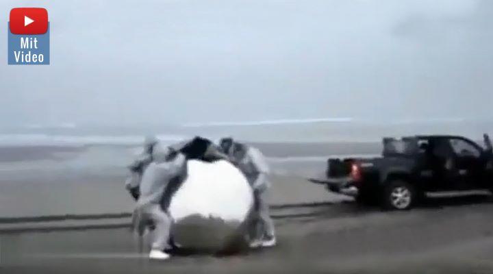 Seltsames Objekt am Stand: Ein UFO-Absturz auf der Krim? (Bild: Screenshot YouTube / Bearbeitung: Fischinger-Online)