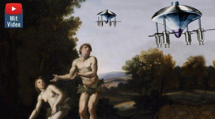 Adam und Eva und das UFO: Die erste Frau auch die UFO-Zeugin der Menschheit? (Bilder: gemeinfrei/Archiv / Montage: Fischinger-Online)