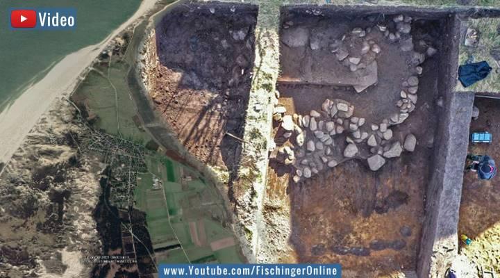 VIDEO: Das vergessene Hügelgrab auf der Insel Amrum in der Nordsee - 1000 Jahre älter als gedacht (Bilder: Google Earth & Archäologisches Landesamt Schleswig-Holstein / Montage: Fischinger-Online)