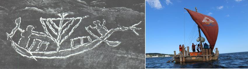 Felsbilder der Negade-Kultur zeigen ab und zu das Dreieck-Quersegel. Das sind dreieckig geschnittene Rahsegel, die im Grund den Prototypen des Lateinsegels bzw. des Dausegels zeigen
