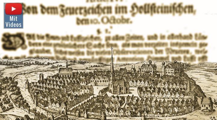 1717 kamen in Kiel feurige Objekte vom Himmel - doch sie flogen auch wieder weg! (Bilder: gemeinfrei / Montage: Fischinger-Online)