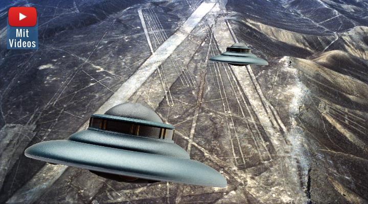 Nazca die UFOs und die Marsmenschen: frühe Spekulationen über die Nazca-Linien (Bilder: E. v. Däniken & gemeinfrei / Montage: Fischinger-Online)
