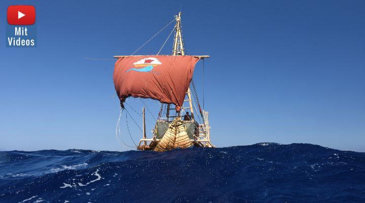 Auf der 1.550 km langen Seereise musste das Schilfboot so manches Hindernis durchsegeln. Dabei überstand es auch zwei Starkwindsysteme und bewies dabei seine Hochseetauglichkeit. (Bild: D. Görlitz / Abora.eu)