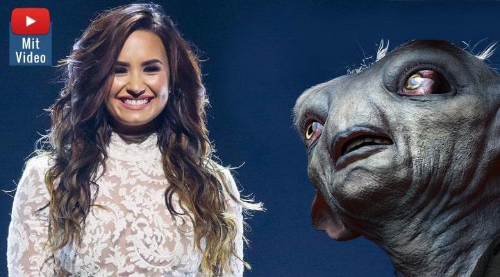 """Aliens sollte nicht Aliens heißen, das ist diskriminierend! Sagt """"TV-UFO-Jägerin"""" und US-Popstar Demi Lovato (Bilder: gemeinfrei & WikiCommons/R. Arvesen/CC BVY 2.0 / Montage: Fischinger-Online)"""