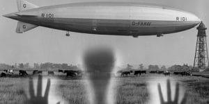 """Der Absturz des britischen Luftschiff """"R 101"""" im Oktober 1930: Ein Paranormales Ereignis? (Bilder: gemeinfrei / Montage: Fischinger-Online)"""